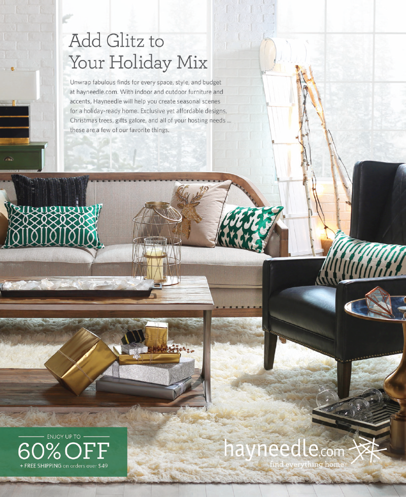 "Holiday living room photoshoot in a whimsical theme accompanied by a block of text headlined ""add glitz to your holiday mix""."