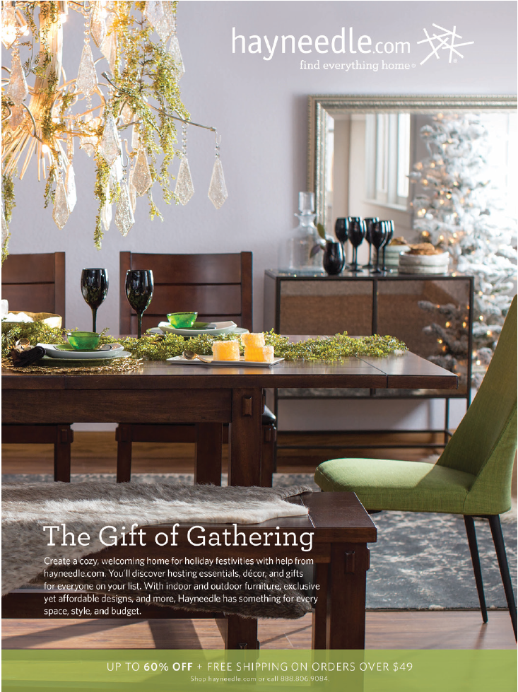 "Holiday dining room photoshoot in a whimsical theme accompanied by a block of text headlined ""the gift of gathering""."