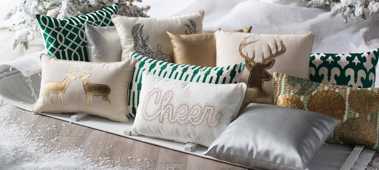 Holiday Mixed Decorative Pillow Photoshoot in gold, white, and green