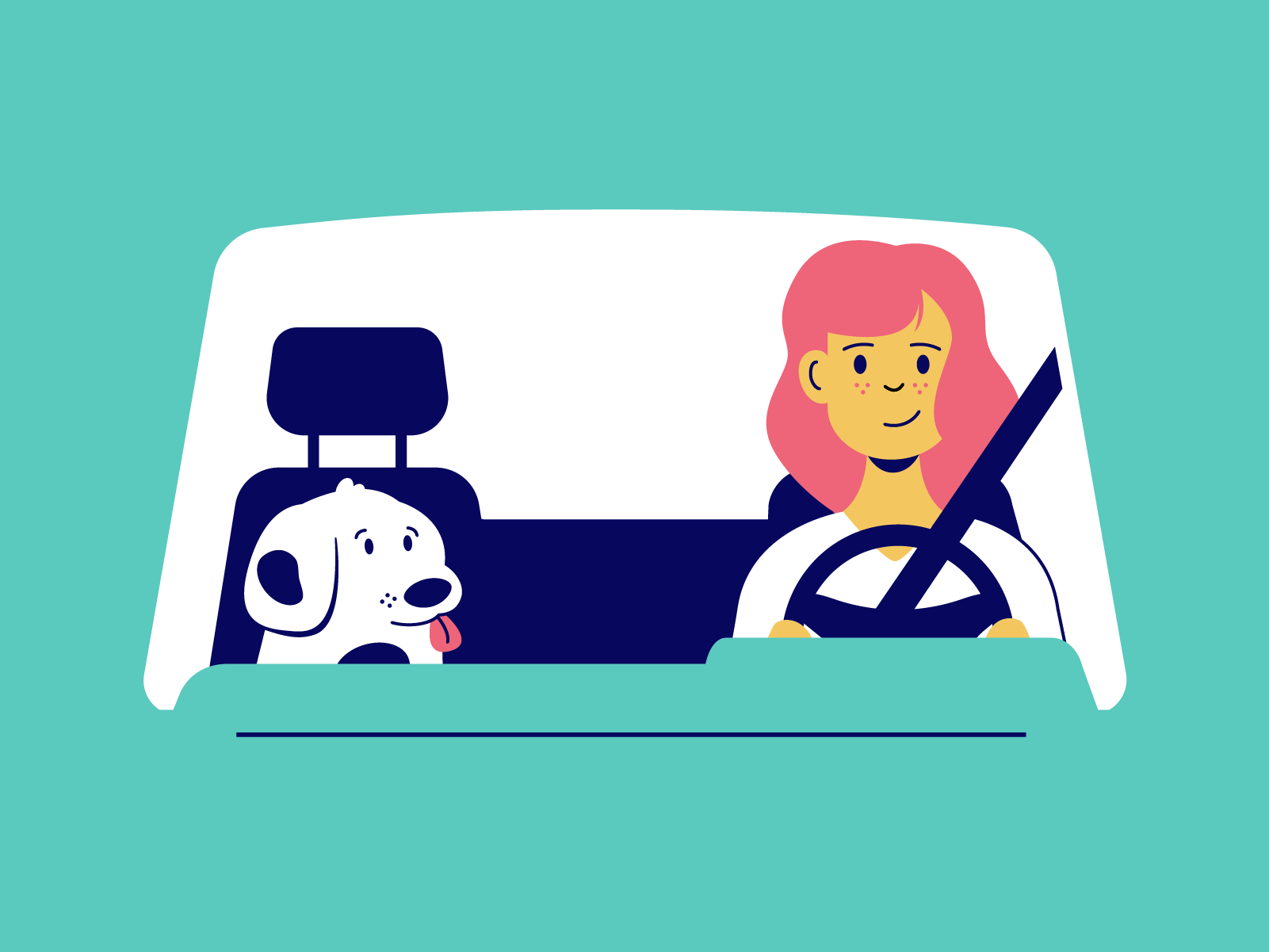 Illustration of a woman with pink hair driving her car with a cute spotted dog in the passenger seat. The perspective is from the front of the car looking straight on into the dashboard window.