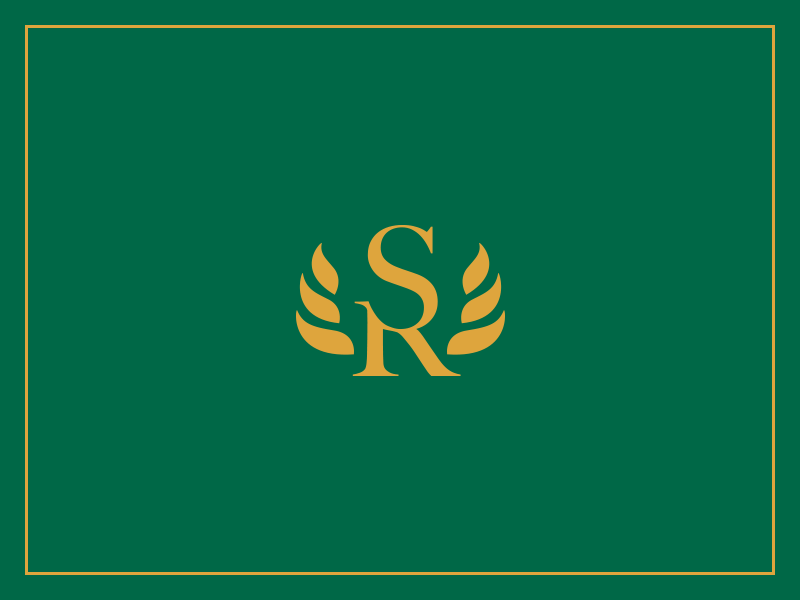 Logo mark in golden yellow atop a green from the Mexican flag for Sylvia Rodriguez, immigration lawyer