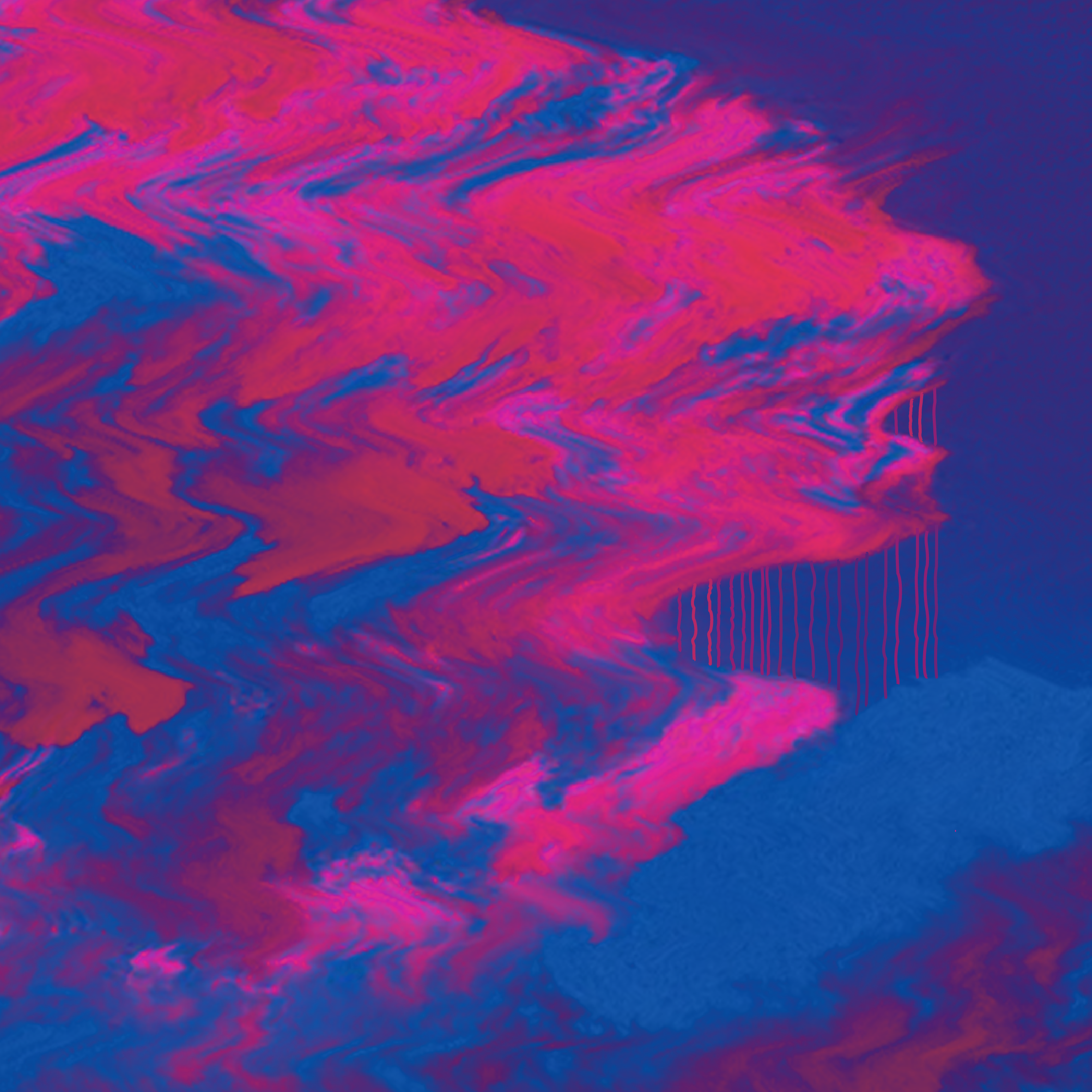 Abstract image of a wavy cloud made of blue and pink