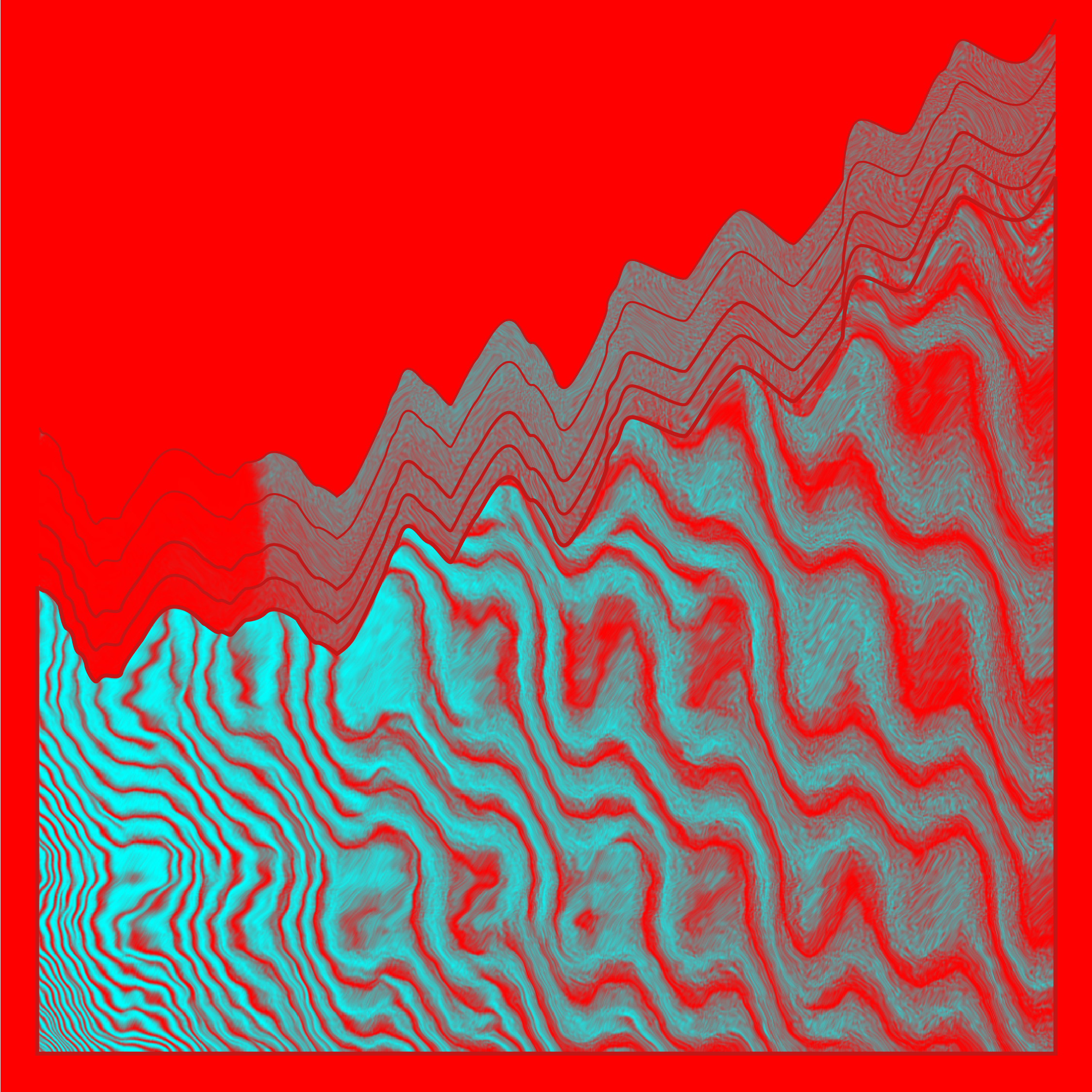A red background with abstract wavy cyan blue pattern like tiger strips going half way up the image at an angle, into the top right corner.