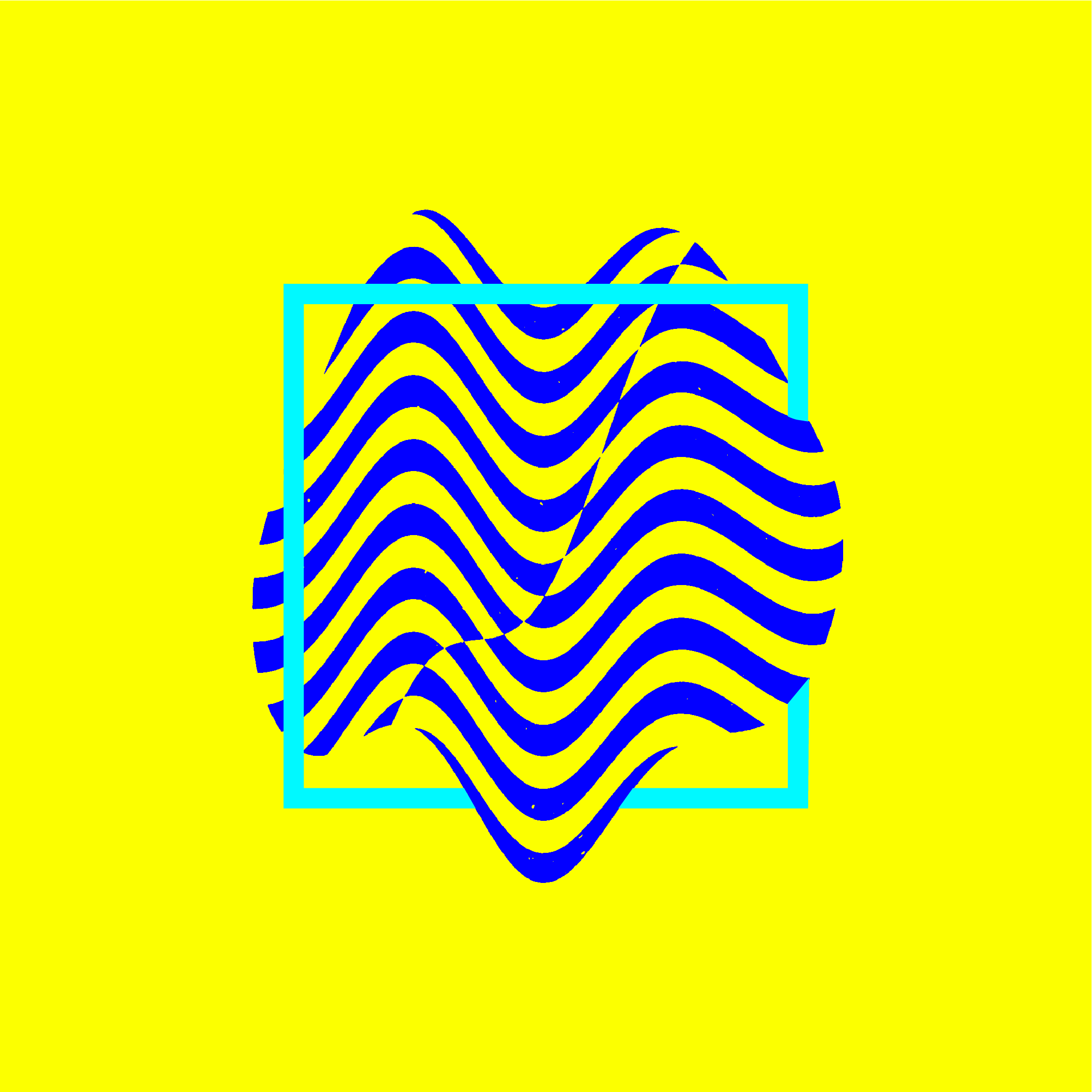 Abstract image of a bright yellow background with a wavy striped darker blue shape in the middle, and a square with a thick cyan blue stroke intersecting with the dark blue shape.