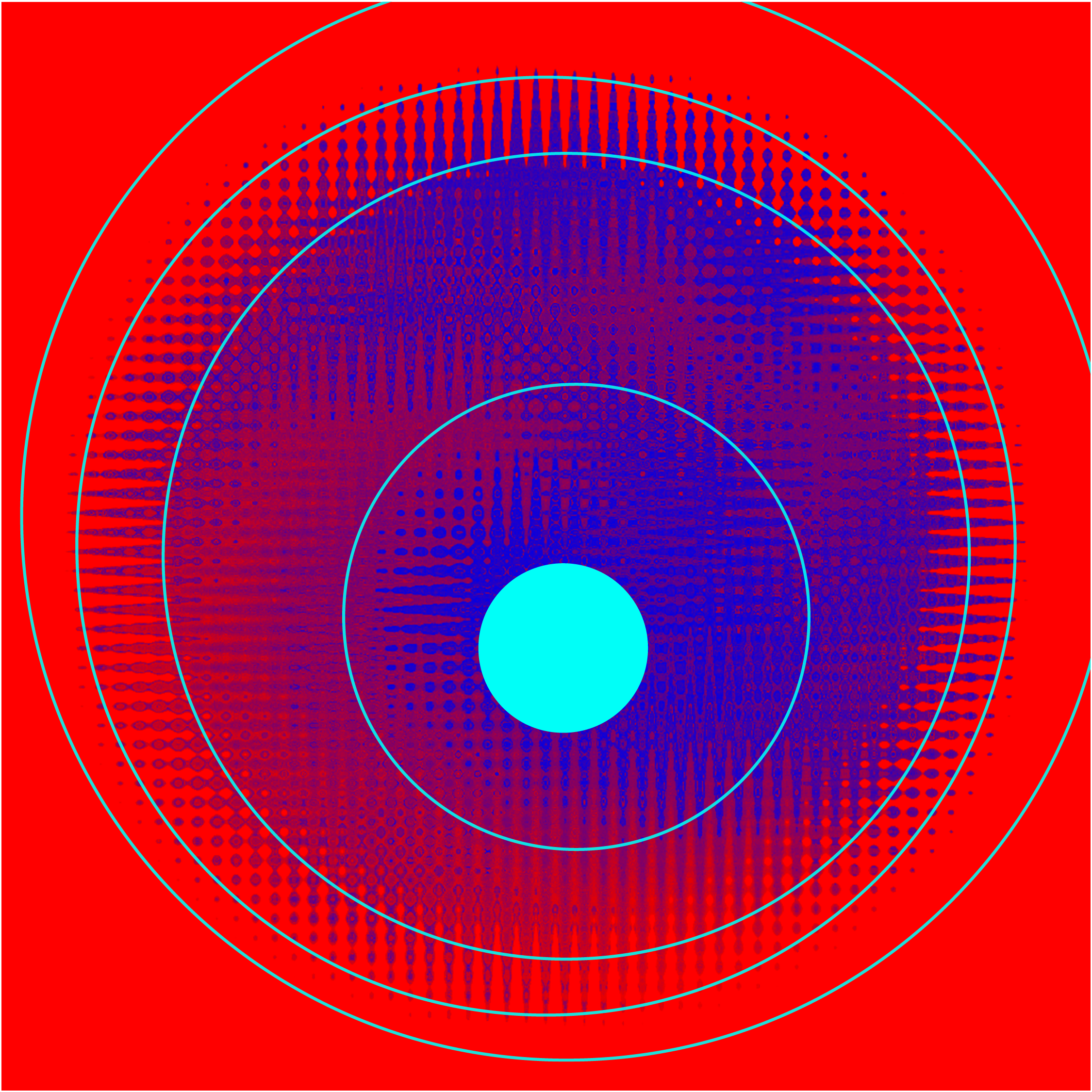 Abstract image with a geometric blue circle pattern on a red background with a bright cyan blue dot in the middle, and cyan blue rings spiraling out from the dot.